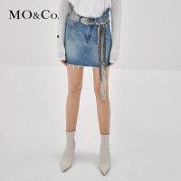 MOCO秋季新品流苏洗水纯棉牛仔裙MA183SKT401 摩安珂