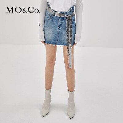 MOCO秋季新品流苏洗水纯棉牛仔裙MA183SKT401 摩安珂 满399包邮 自然流苏边 纯棉牛仔