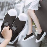 女鞋新款懒人鞋低帮弹力布交叉厚底一脚蹬休闲鞋百搭单鞋