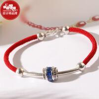 凤凰涅磐红绳手链925银转运珠圣诞节礼物送闺蜜手工编织本命年女