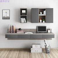 北欧风格电脑桌 简约现代书桌书架书柜组合 小户型家用台式写字桌 4抽书桌+上柜 (太空灰色)