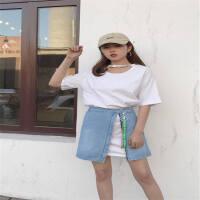 新款时尚织带牛仔半身裙女高腰修身显瘦a字裙可两种穿法18春夏