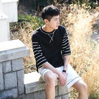 日系打底衫条纹假两件体恤圆领短袖T恤夏季青春潮纯色TEE