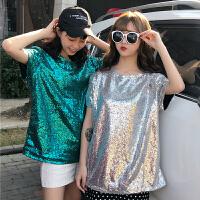 夏装女装韩版原宿风个性亮片百搭圆领短袖T恤宽松打底衫上衣体恤