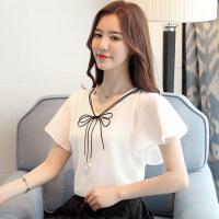 短袖女2018新款韩版时尚洋气小衫夏季白色雪纺上衣荷叶边雪纺衫女