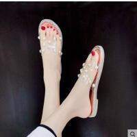 H拖鞋女凉鞋网红沙滩鞋平底h凉拖外穿珍珠铆钉一字拖