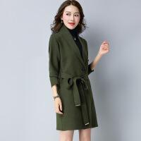 秋冬新品长款女式毛衣外套 修身显瘦纯色毛衣针织衫大衣
