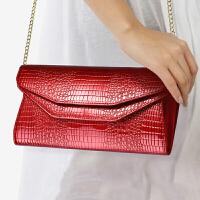 钱包女长款 牛皮新款时尚百搭气质女士信封包手包女 手拿包女iu (8H-XL)魅力红色-大版