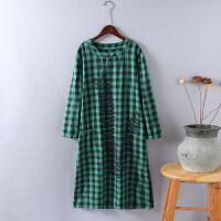 J4格子连衣裙女长袖秋装新款 印花中长款显瘦大码 棉麻风0.25