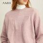 【折后价:117元/再叠300-30元券】Amii极简洋气学生套头毛衣女2019秋冬新款蝙蝠袖短款提花毛针织衫