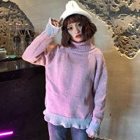 高领毛衣加厚女冬2018新款外穿韩版短款百搭甜美宽松套头学生上衣