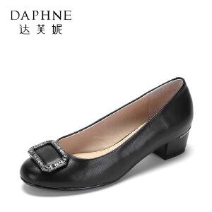 【达芙妮集团】 春款粗跟真羊皮水钻方扣时装女鞋