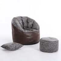 懒人沙发豆袋单人榻榻米客厅卧室阳台现代简约小户型布艺孕妇沙发 豹纹皮革 送脚蹬抱枕