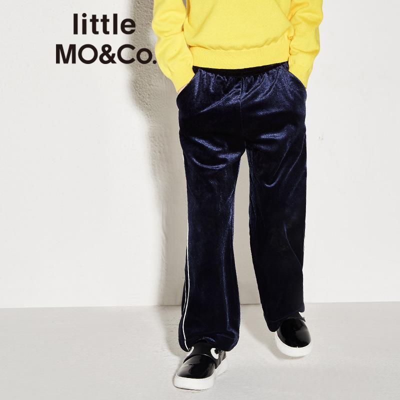 【折后价:239.6】littlemoco男女童撞色杠条丝绒休闲直筒长裤KA173PAT203 撞色杠条 休闲丝绒长裤