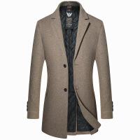 冬季韩版呢子大衣男中长款加厚风衣毛呢大衣修身男士羊毛大衣外套 卡其色 170/M