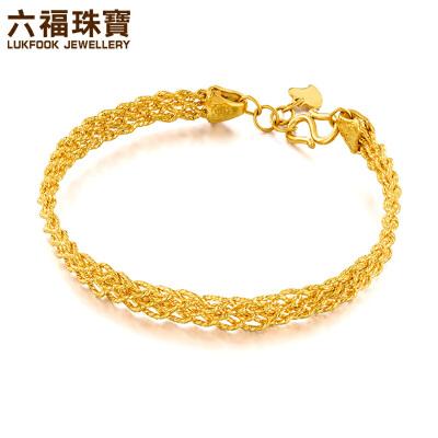 六福珠宝仿编织黄金手镯女金镯子个性足金手链  L05TBGB0006奢华大气 精致编织造型