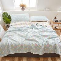 六层纯棉纱布毛巾被可水洗夏被空调被三件套单双人婴儿盖毯空调毯 彩云 蓝