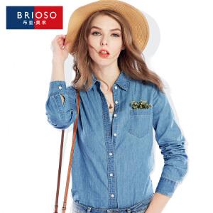 BRIOSO 女士薄款牛仔衬衫 秋季新品女装牛仔衬衣 欧美风百搭时尚修身水洗女士大码衬衫 WE19295C1