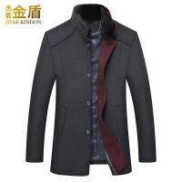羊毛大衣男韩版修身中长款尼子反季冬季中年毛领加厚男士呢子外套 灰色 0/M