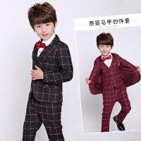 学生男童西装套装2017新款韩版格子英伦休闲宝宝小西服三件套帅气