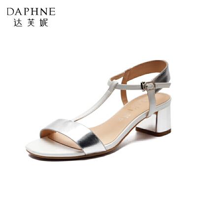 Daphne/达芙妮女鞋夏季粗跟高跟鞋一字扣露趾女罗马风凉鞋