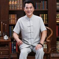 中老年唐装男套装中国风棉麻中年人男士爸爸装汉服男古风