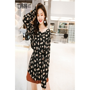 长袖衬衫女装春装新款韩版潮学生黑色蝴蝶结中长款圆领上衣女
