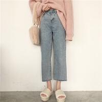 韩国复古chic风春装新款百搭高腰显瘦直筒九分牛仔裤休闲长裤女潮