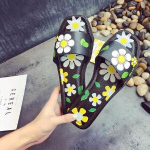 ELEISE美国艾蕾莎新品156-077韩版超纤皮平跟女士凉拖鞋