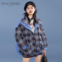 太平鸟短款面包服羽绒服女2019冬季新款爆款格纹学院风白鸭绒外套