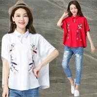 刺绣花棉麻短袖衬衫女装夏季新款民族风宽松大码亚麻上衣