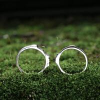 人脸情侣戒指女男素银日韩国简约百搭一对原创设计学生对戒刻字 情侣戒指 一对(适合96%的手指)