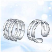 多圈个性创意戒指S925银戒指男女时尚活口戒学生情侣戒指开口对戒