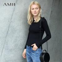 【品牌团 1件7折/2件5折】Amii[极简主义] 秋装修身针织套头长袖半高领毛衣女11671781