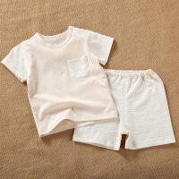 活力熊仔 2018韩版童装春夏季婴儿服装薄款彩棉短袖t恤短裤两件套装