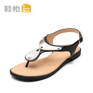 达芙妮旗下shoebox/鞋柜夏季女鞋 简约金属装饰夹趾平底凉鞋1115303006
