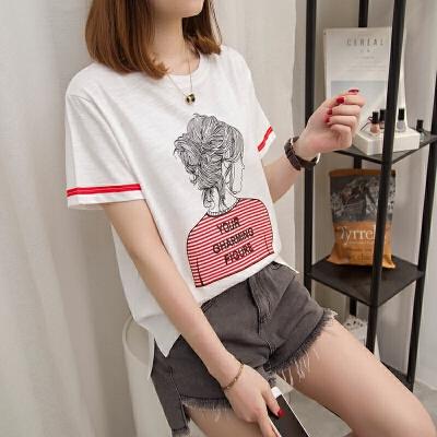 新款白色短袖T恤女装2018春夏季韩版百搭宽松学生半袖体恤上衣服