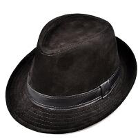 秋冬季仿鹿皮绒男女士保暖真皮礼帽绅士帽