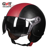 摩托车头盔半覆式电动车半盔男女四季通用空军复古机车安全帽