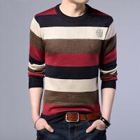 新款毛衣男韩版潮流修身型针织衫圆领条纹长袖T恤薄款打底衫