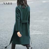 【AMII大牌日折上2件4折】AMII[极简主义]2017年冬100%羊毛双面呢大衣修身中长款毛呢外套女