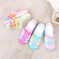 夏季新款凉鞋女洞洞鞋包头平底沙滩鞋果冻鞋海边拖鞋游泳塑料鞋