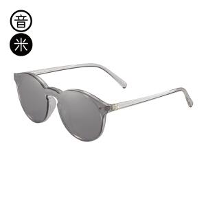 音米网红墨镜女潮时尚百搭圆框墨镜一体镜片太阳镜tr90太阳镜