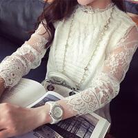 韩观蕾丝打底衫秋冬女中长款韩版长袖高领镂空内搭连衣裙网纱蕾丝衫潮