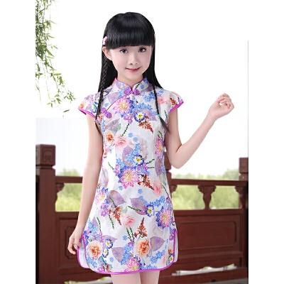儿童旗袍夏季连衣裙 女童大童装中式短袖唐装小女孩公主祺袍2019