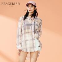 格子衬衫女韩版夏装2019新款衬衣女设计感小众轻熟洋气上衣太平鸟