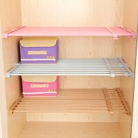 衣柜收纳分层隔板免钉伸缩分层收纳架浴室厨房置物架宿舍寝室收纳 白色 长95-155cm 宽24cm