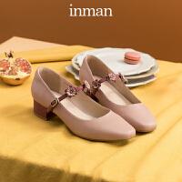 茵曼高跟鞋女春单鞋女粗跟一字扣玛丽珍仙女风配裙子的鞋