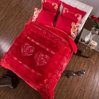 家纺2017秋冬款棉被子婚庆毛毯大红色结婚毯子双人加厚盖毯绣花双层刺绣被子 200cmx230cm误差5cm