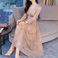 重磅桑蚕丝反季真丝连衣裙女夏中长款2018秋装女新款绣花长裙